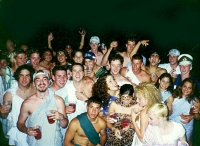 """At a """"Toga Party."""" Ian is in the back right with his friends Kate and Justin"""