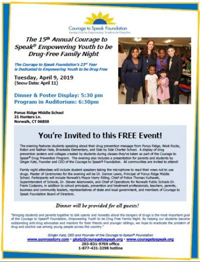 15th Annual Courage to Speak Empowering Youth to be Drug-free Family Night
