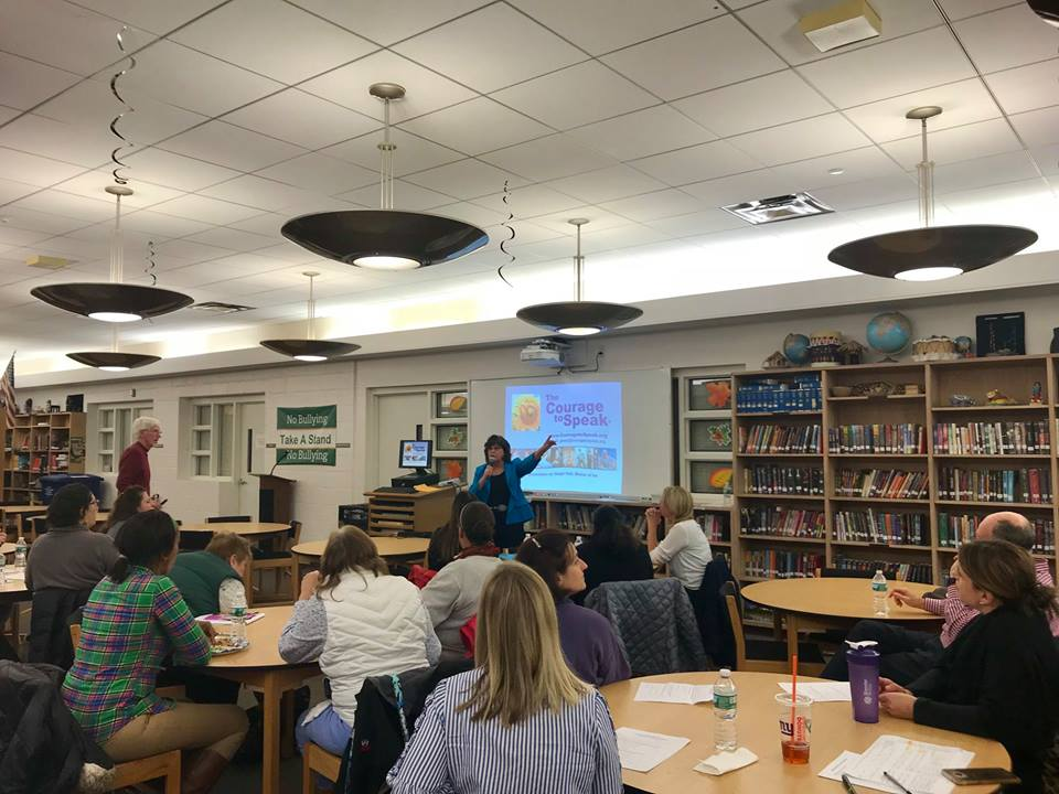 Ginger Katz of the Courage to Speak Foundation gives a drug prevention presentation to adults to keep their children safe.